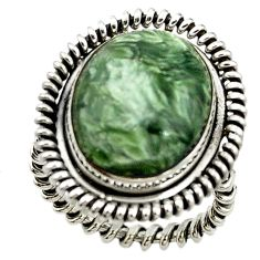 Natural green serpentine 925 sterling silver ring jewelry size 7.5 d15393