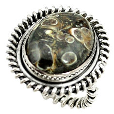 Clearance Sale- Natural brown turritella fossil snail agate 925 silver ring size 6.5 d15395