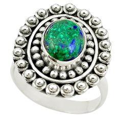 Natural green malachite (pilot's stone) 925 silver ring jewelry size 8 d15412