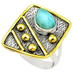 Clearance Sale- Victorian natural blue larimar 925 silver two tone ring size 6.5 d15436