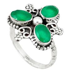 Clearance Sale- 925 sterling silver green emerald quartz oval ring jewelry size 7.5 d1559