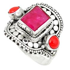 Clearance Sale- 925 sterling silver natural red ruby coral ring jewelry size 7.5 d1585