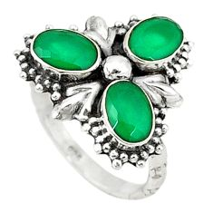 Clearance Sale- Green emerald quartz 925 sterling silver ring jewelry size 7 d1627