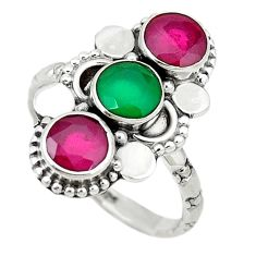 Clearance Sale- Green emerald ruby quartz 925 sterling silver ring jewelry size 7.5 d1638