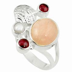 Natural orange morganite red garnet 925 sterling silver ring size 7.5 d16947