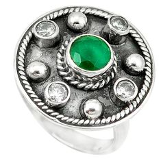 Clearance Sale- 925 sterling silver green emerald quartz topaz ring jewelry size 7.5 d1696