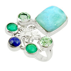 Clearance Sale- Natural larimar chalcedony lapis 925 sterling silver ring size 6.5 d16961