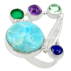 Natural blue larimar chalcedony lapis 925 silver ring size 9.5 d16967