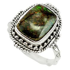Natural multi color ammolite (canadian) 925 silver ring size 8 d16970