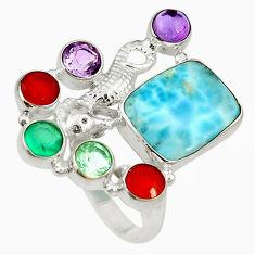 Clearance Sale- Natural blue larimar cornelian (carnelian) 925 silver ring size 6.5 d16974