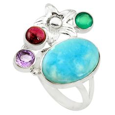 Clearance Sale- Natural blue larimar chalcedony 925 sterling silver ring size 7.5 d16976