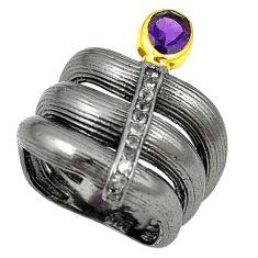 Natural purple amethyst topaz 925 silver black rhodium ring size 6.5 d17016