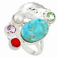 Clearance Sale- Natural blue larimar cornelian (carnelian) pearl 925 silver ring size 7.5 d17034