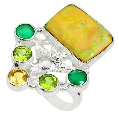 925 sterling silver multi color sterling opal chalcedony ring size 9 d17050
