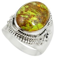 Natural green gaspeite 925 sterling silver solitaire ring size 7.5 d17074