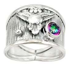 Multi color rainbow topaz 925 sterling silver owl ring jewelry size 8.5 d17113