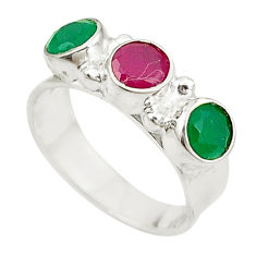Red ruby green emerald quartz 925 sterling silver ring size 6 d17147