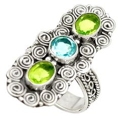 925 sterling silver natural blue topaz green peridot ring size 7 d17199