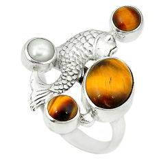 Clearance Sale- pearl 925 silver fish ring size 7.5 d1721