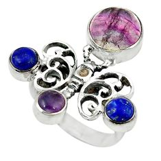 Natural multi color fluorite lapis 925 silver butterfly ring size 7.5 d1723