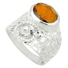 Clearance Sale- Natural brown tiger's eye 925 sterling silver ring jewelry size 7 d1747