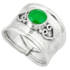 Clearance Sale- Green emerald quartz 925 sterling silver ring jewelry size 8 d1827