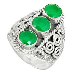 Clearance Sale- Green emerald quartz 925 sterling silver ring jewelry size 7.5 d1828