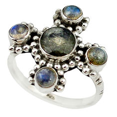 Natural blue labradorite 925 sterling silver ring jewelry size 8.5 d18322