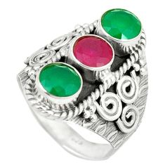 Clearance Sale- Green emerald red ruby quartz 925 sterling silver ring size 8.5 d1834
