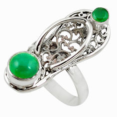 Clearance Sale- Natural green chalcedony 925 silver sleeper charm ring jewelry size 7 d18358
