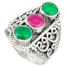 Clearance Sale- Green emerald red ruby quartz 925 sterling silver ring size 7.5 d1836