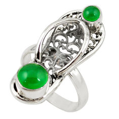Clearance Sale- Natural green chalcedony 925 silver sleeper charm ring jewelry size 8 d18366