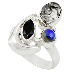 Clearance Sale- Natural white herkimer diamond onyx 925 silver ring jewelry size 8 d18375