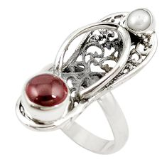 Clearance Sale- Natural red garnet pearl 925 silver sleeper charm ring jewelry size 7 d18387