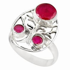 Clearance Sale- Red ruby quartz 925 sterling silver tree of life ring jewelry size 8 d18412