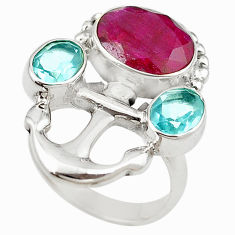 Clearance Sale- 925 sterling silver red ruby quartz blue topaz ring jewelry size 6 d18444