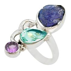 Natural blue tanzanite rough amethyst 925 silver ring jewelry size 7 d18446