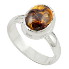 Clearance Sale- 925 sterling silver natural brown pietersite (african) ring size 6 d18924