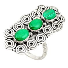 Clearance Sale- 925 silver natural green malachite (pilot's stone) ring jewelry size 6 d18929