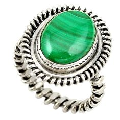 Natural green malachite (pilot's stone) oval 925 silver ring size 5.5 d18930