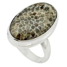 Natural black stingray coral from alaska 925 silver ring size 6 d19003