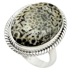 Natural black stingray coral from alaska 925 silver ring size 8 d19007