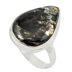 925 silver natural golden seraphinite (russian) ring jewelry size 8 d19015