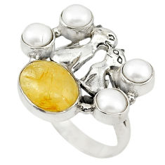 Natural golden tourmaline rutile white pearl 925 silver ring size 8 d19026