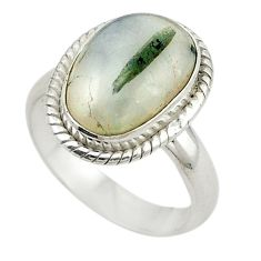 Clearance Sale- Natural green tourmaline in quartz 925 silver ring jewelry size 7 d19037