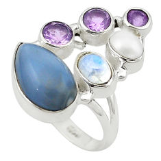 Clearance Sale- Natural blue owyhee opal moonstone amethyst 925 silver ring size 8 d19045