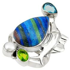 Natural multi color rainbow calsilica 925 silver dolphin ring size 8 d19047