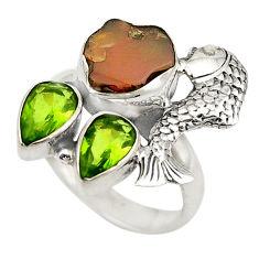 Natural multi color ethiopian opal rough 925 silver fish ring size 7.5 d19050