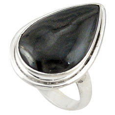 Clearance Sale- Natural black psilomelane (crown of silver) 925 silver ring size 8 d19057