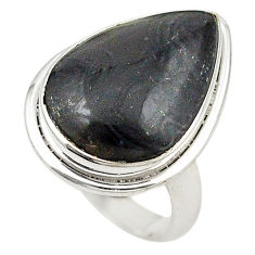 Clearance Sale- Natural black psilomelane (crown of silver) 925 silver ring size 7.5 d19058